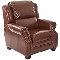 Office Star Faber Bonded Leather Recliner with Dark Espresso Finish Legs and Antique Bronze Nailhead Accents, Saddle