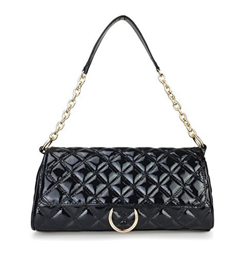 Quilted Patent Bag (Hoxis Women's Cross Body Bag Diamond Quilted Patent Leahter Chain Shoulder Handbag (Black))