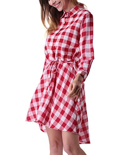 0ae5d3a65fc Mavis Laven Women Plaid Dress Blouses Long Sleeve Casual Button Down Shirts