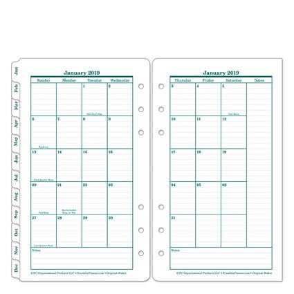 Pocket Original Two Page Monthly Ring-Bound Tabs - Jan 2019 - Dec 2019