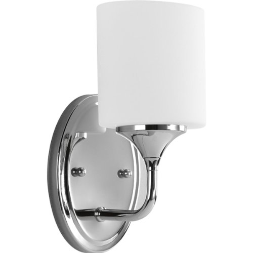 [Progress Lighting P2801-15 1-Light Bath with Etched White Oval Shaped Glass Shades, Polished Chrome] (Single Bath Sconce)