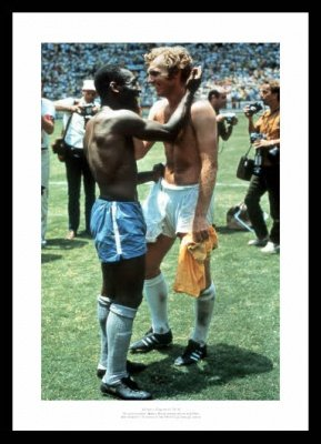 Framed Bobby Moore and Pele 1970 World Cup Photo Memorabilia Home of Legends