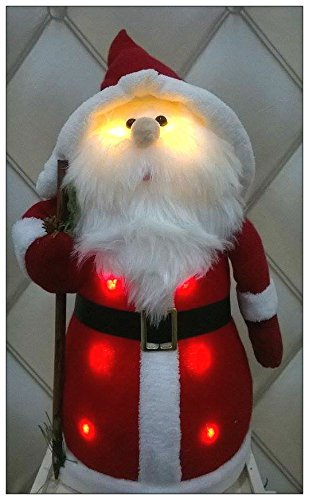 garden mile plush fluffy light up santa table or window xmas christmas decoration warm white
