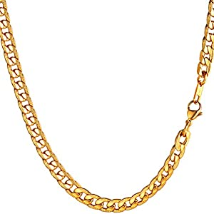 """PROSTEEL 7mm Cuban Link Chain, Black/18K Gold Plated Stainless Steel, Stylish Chain Necklaces for Men/Women, 18""""-30"""""""
