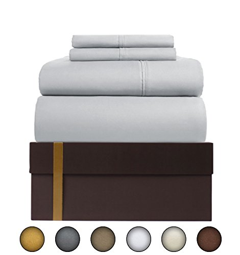 - Urban Hut Egyptian Cotton Sheets Set (4 Piece) 400 Thread Count - Bedspread Deep Pocket Premium Bedding Set, Luxury Bed Sheets for Hotel and Home Collection Soft Sateen Weave (Queen, Silver Grey)