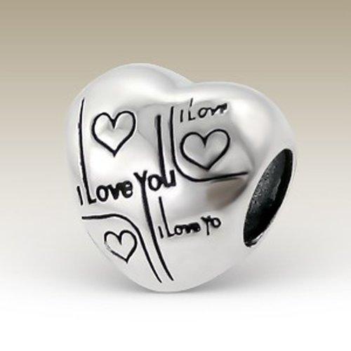 I Love You Bead Charm Heart Shape Sterling Silver 925 for Charm Bracelets (E12935) ()