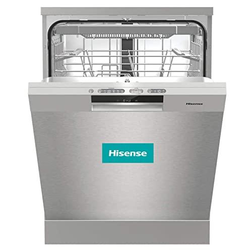 Hisense HS661C60X - Lavavajillas Libre Instalación, Capacidad para 16 Servicios, 3 Cestas, Acero 60 cm, 5 Programas, Filtro Autolimpiable, Contador Digital con Programa Ecológico, Silencioso