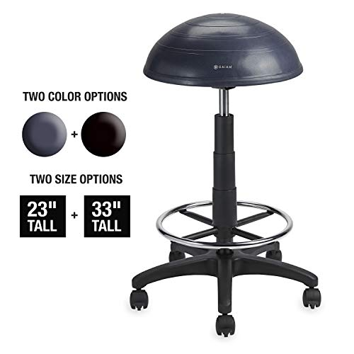 Gaiam Balance Ball Chair Stool, Half-Dome Stability Ball Adjustable Tall Office Sit Stand Swivel Desk Chair Drafting Stool with Round Foot Rest for Standing Desks Home or Office - Granite 33 (Best Balance Ball For Office)