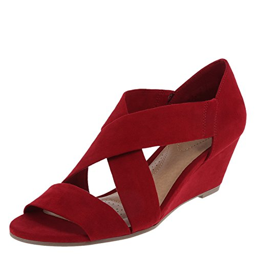 dexflex Comfort Womens Kerry Softee Wedge Sandal Red Suede CuiQ5X