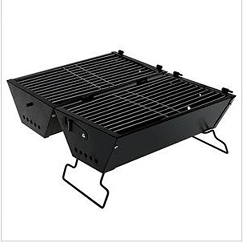 ZZ-aini Portable Smokers Folding Charcoal grills Camping, Picnicking BBQ Camping Picnicking Barbecue-Black 40x30cm(16x12inch)