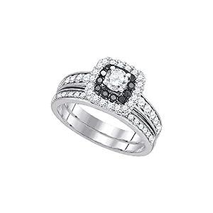 14kt White Gold Womens Round Diamond Halo Bridal Wedding Engagement Ring Band Set 1.00 Cttw