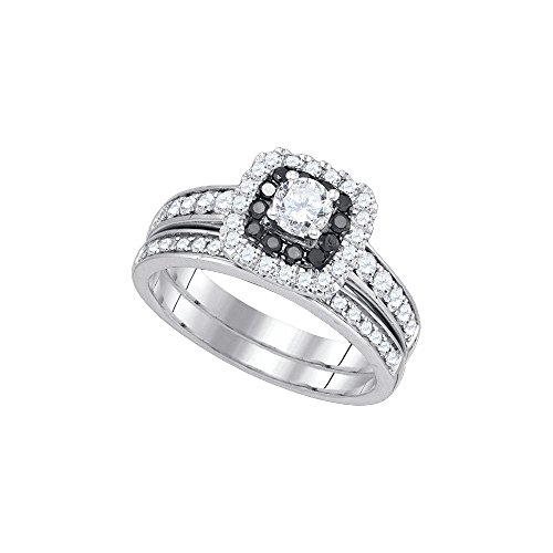 14kt White Gold Womens Round Diamond Halo Bridal Wedding Engagement Ring Band Set 1.00 Cttw = 1 (I1 Clarity; H-I Color)