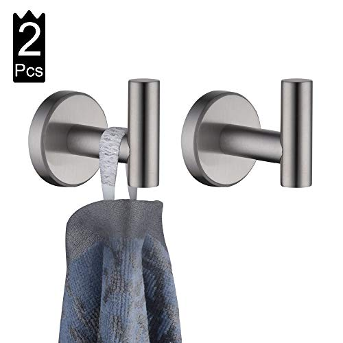 - JQK Bath Towel Hook, SUS 304 Stainless Steel Coat/Robe Clothes Hook for Bathroom Kitchen Garage Wall Mounted(Pack of 2), Brushed Finish