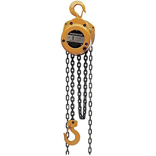 Harrington CF Series Die-Cast Aluminum Body Hand Chain Hoist, 1 Ton Capacity, 15' Lift Height, 13.5' Hand Chain Drop, 14.6