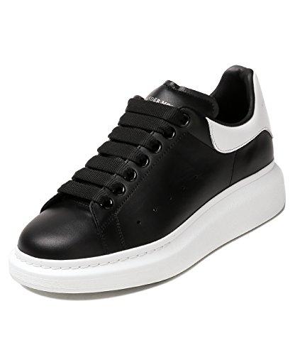 Wiberlux Alexander McQueen Men's White Tab Lace-Up Real Leather Sneakers 42.5 Black (Alexander Mcqueen Men Sneakers)