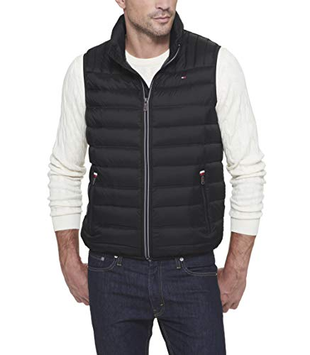 - Tommy Hilfiger Men's Big and Tall Lightweight Down Quilted Puffer Vest, Black, 2X