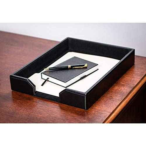 Dacasso Black Bonded Leather Letter Tray (Accessories Desk Leather)