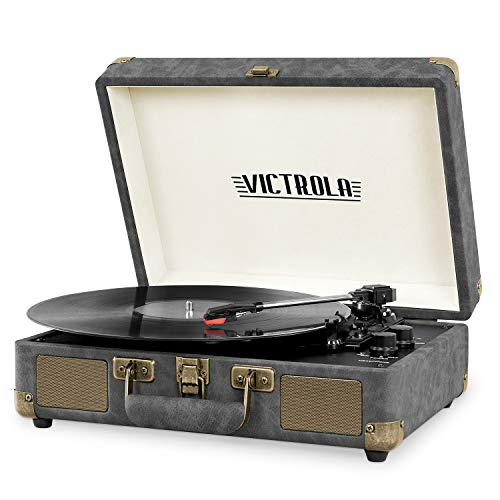 Victrola Vintage 3-Speed Bluetooth Portable Suitcase Record Player with Built-in Speakers | Upgraded Turntable Audio Sound| Includes Extra Stylus | Gray w/ Bronze (VSC-550BT-GYB)