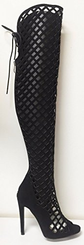 Cr Elnora Gladiator Open Toe Lace Back Full Zipper Thigh High Stiletto Heel Boot Black 10
