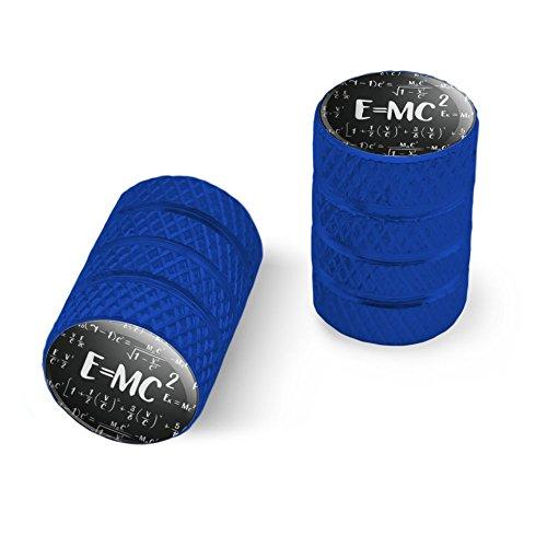 オートバイ自転車バイクタイヤリムホイールアルミバルブステムキャップ - ブルー E = MC 2エネルギー質量式Albert Einstein特殊相対性理論の理論