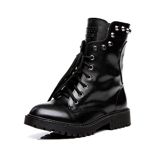 Europa Siete Treinta y Students y Remaches Invierno América Retro Boots AVBGT Short Otoño Boots New Leather Negro qaTwvpHR