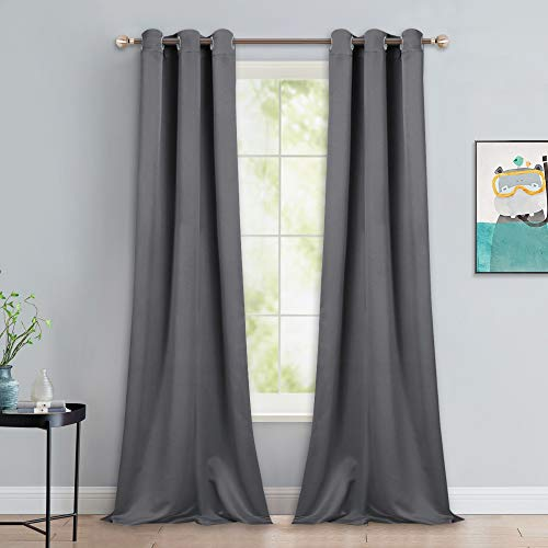NICETOWN Thermal Insulated Blackout Curtains - Grommet Top Window Treatment Drapes for Hall (2 Panels, W42 x L90 -Inch, Grey)