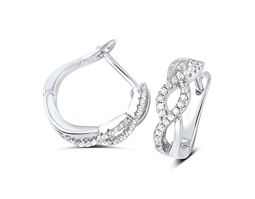 Sterling Silver Simulated Diamond Braided Post and Latch Back Snap in -