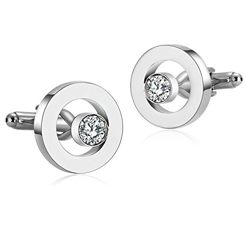 Aooaz Mens Stainless Steel Cufflinks Silver Hollow Circle Cubic Zirconia Shirt Wedding 1.9X1.9CM Gift Box (Design Circle Pearl Cufflinks)