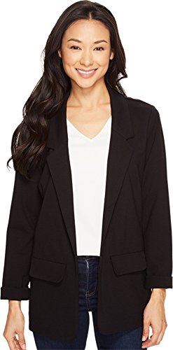 Liverpool Jeans Company Women's Boyfriend Blazer in Light Weight Ponte Knit, Black, (Denim Stretch Blazer)