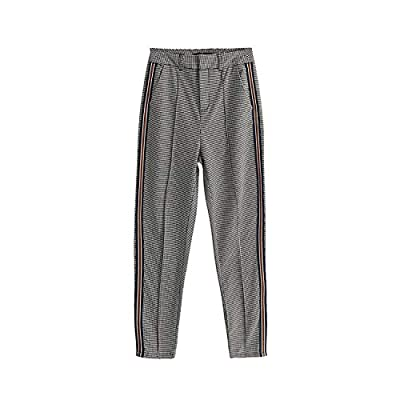The small cat Women Casual Patchwork Side Striped Pant Female Fashion High Waist Ankle-Length Active Wear Trouser