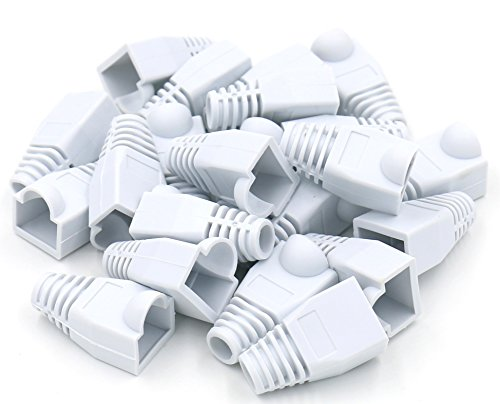 iexcell 100 Pcs White RJ45 Ethernet Network Cable Strain Relief Boots