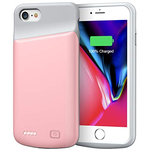 Lonlif Battery Case for iPhone 7/8, 4500mAh Portable Rechargeable Protective Charging Case Compatible with iPhone 7/8 (4.7 inch) Extended Battery Pack Charger Case (Rose Gold)