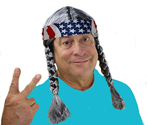 Willie Nelson Halloween (City Costume Wigs Braided Grey Willie Wig, Hillbilly, Country, Hippie Wig with American Flag)