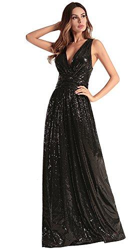 de lentejuelas FOLOBE Black mujer de la de fiesta vestido vestido noche 4Xgq6Hcgwx