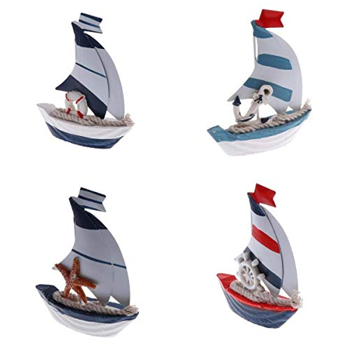 Grace Home 5'' H Nautical Mini Vintage Wooden Metal Sailboat Model Handpainted Decorative Ship Model Tabletop Party Wedding Kitchen Office Centrepiece Decoration,Housewarming Gift,Set of 4 (Metal Ship Figurines)