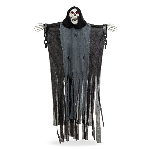 Best Choice Products 5ft Hanging Grim Reaper Skull Skeleton Halloween Decoration w/Shackles, Chains, LED Glowing Eyes - Black