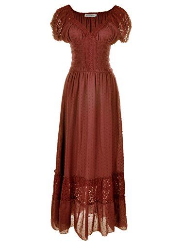 Lace Trim Long Chemise - Anna-Kaci Peasant Maiden Boho Inspired Cap Sleeve Lace Trim Maxi Dress, Brown, Large
