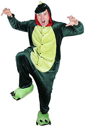 QinYing Unisex-adult Kigurumi Onesie Pajamas Party Dinosaur Cosplay Costumes Green M (Superman Adult Onesie)