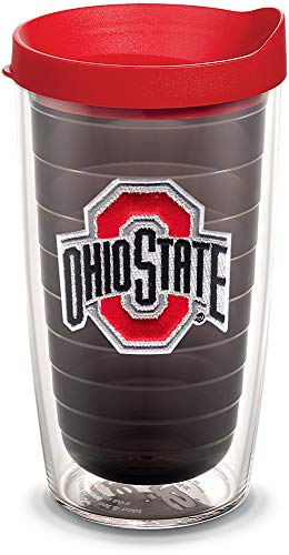 Tervis 1055316 Ohio State Buckeyes Logo Tumbler with Emblem and Red Lid 16oz, Quartz