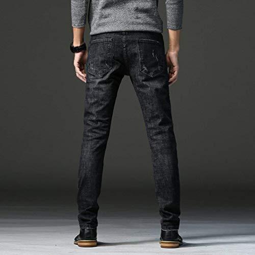 Uomo Con Vestibilità Slim Estilo Taper Fit E Denim Casual Especial Strappati Nero Pantaloni Da Jeans RUtYpwxw