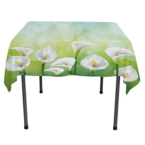Calla Lily Summer Table Cloths Illustration of Spring Seasonal Design Flowers on Green Background Green White Yellow Reusable Tablecloth Square Tablecloth 60 by 60 inch