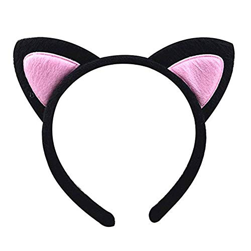 BOROLA Cute Cat Ear Headband Cosplay Costume Favors Accessories Girls Kids Party Decoratio (Black-Pink)]()