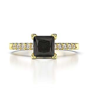 Oro rosa de oro blanco de oro amarillo y diamante negro y el anillo de compromiso de diamante AGDR-1210-SIH