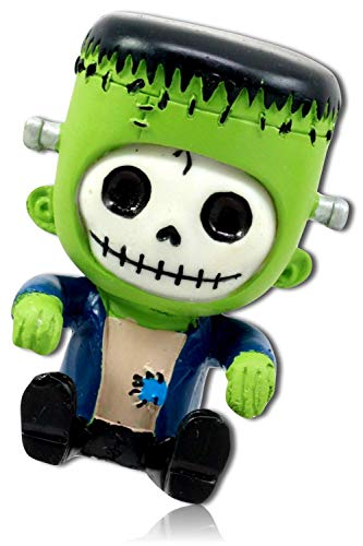 mySimpleProduct.Shop Halloween Sitting Spooky Scary Monster Juvenile Young Clothed Monster Frankie Costume Stitched Mouth Skeleton Face Statue Figurine Sculpture + -
