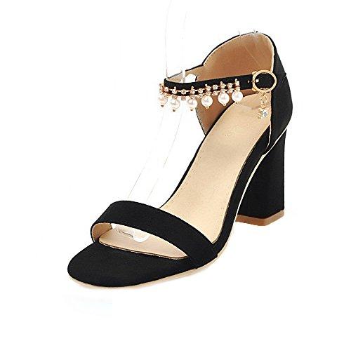 Sandales à Couleur GMBLB014808 Ouverture d'orteil Haut Talon AgooLar Unie Femme Boucle Noir xna1wqnCIz