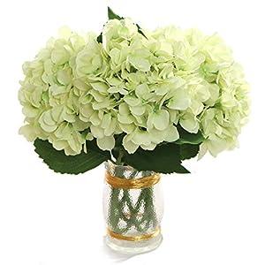 "Larksilk 27"" Silk Artificial Hydrangea Flower Light Green Fake Flowers for Decorations & Wedding Bridal Bouquets (Set of 3) 68"