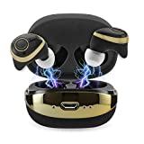 Coby True Wireless Bluetooth Earbuds, Mini In Ear Headphones & Charging Case  Built-in Mic  3D Stereo Sound & Deep Bass  18H Play Time  IPX5 Sweatproof Earphones For Workout, Sports & More- Black/Gold