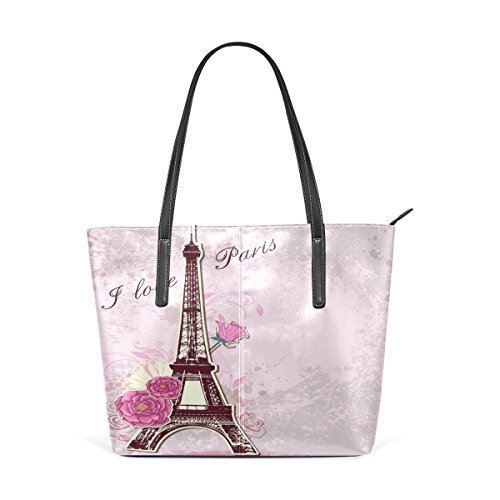 WOZO Pink Vintage Paris Eiffel Tower Rose PU Leather Shoulder Tote Bag Purse for Women Girls