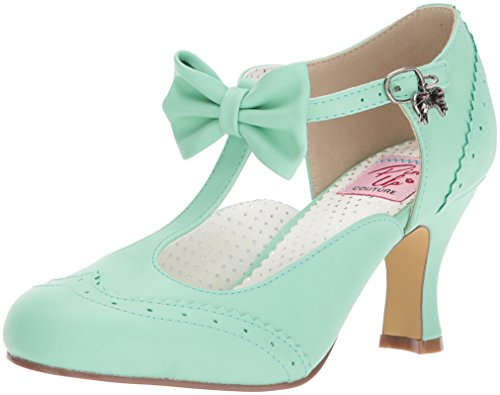 Pin Up Couture Women's FLAPPER-11 Pump, Mint Faux Leather, 9 M US