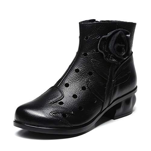 EU Nero 36 Boots Comfort Women Flower Vintage Zipper Leather Colore Rosso Hollow Dimensione out ZHRUI Shoes 1RTnAwqpf